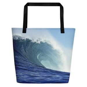 Coronado Blue Wave Beach Bag (Black handle, right side)